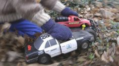 TOY POLICE CAR CHASE Slow Motion CRASHES! KIDS PLAYING