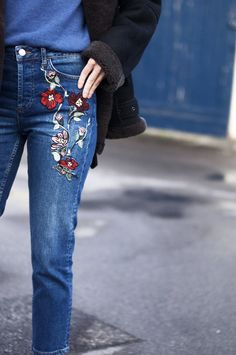 Puppy Eyes & A #Colourful Touch to #Denim #embroidery