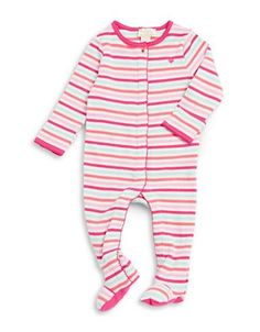 Striped ribbed cotton footies