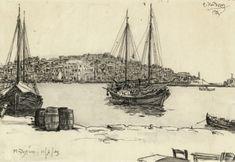 Μυτιλήνη (1923) Sailing Ships, Greece, Boat, Artist, Painting, Islands, Memories, Greece Country, Memoirs