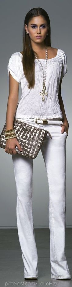 Look at CAbi spring '13 to recreate this look: White Eliza blouse with  limited edition(avail May 1) white Farrah pant  www.cabionline.com