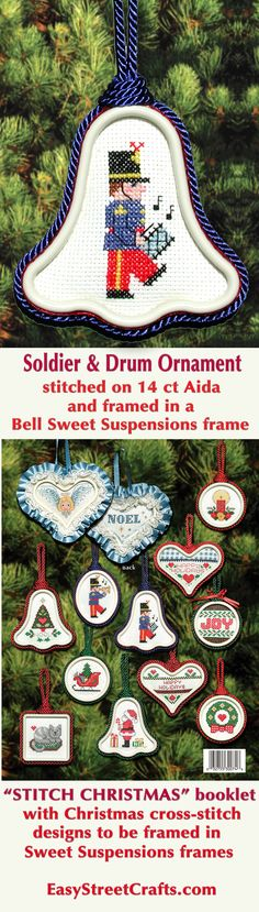 """24 Easy to Stitch Christmas Cross-Stitch Designs to frame in Sweet Suspensions double-sided ornament frames. """"Stitch Christmas All Year 'Round"""" booklet also has instructions for framing and decorating."""