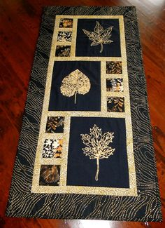 Contemporary Gold and Black Leaf Design Table by thebeadedpillow, $50.00