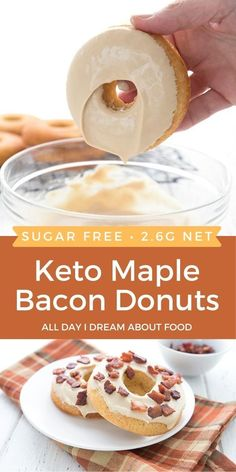 Keto Maple Bacon Donuts are the best of all possible worlds. Delicious low carb baked donuts with a rich sugar-free maple glaze and crispy bacon bits. Come here, you beautiful keto breakfast!