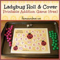 Printable Addition Game: Ladybug Roll & Cover - The Measured Mom