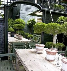 make a small garden look big with an outdoor mirror. Maybe big pot or urn in front of mirror? Back Gardens, Small Gardens, Outdoor Gardens, Garden Mirrors, Mirrors In Gardens, Outdoor Mirrors Garden, Walled Garden, Outdoor Rooms, Outdoor Dining