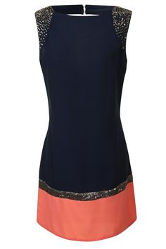 Navy And Coral Embellished Dress