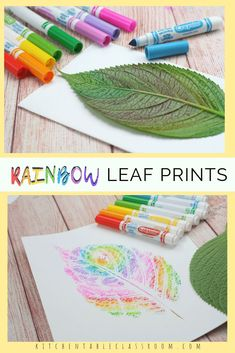 Rainbow Leaf Prints- with Washable Marker - The Kitchen Table Classroom Use washable markers to create these colorful rainbow leaf prints. This is an easy rainbow craft perfect for introducing the colors of the rainbow! Rainbow Paper, Rainbow Crafts, Rainbow Art, Rainbow Nails, Cake Rainbow, Kids Rainbow, Rainbow Activities, Autumn Activities, Summer Activities