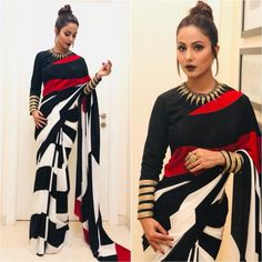 Looking for modern saree designs and ideas? Here are 18 amazing saree and blouse models that are sure to steal your heart. Trendy Sarees, Stylish Sarees, Fancy Sarees, Simple Sarees, Dress Indian Style, Indian Dresses, Indian Fashion Modern, Indian Outfits Modern, Sari Bluse