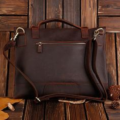 ROCKCOW Real Leather Messenger Bag Cross Body Satchel Brown Bag Briefcase 1132