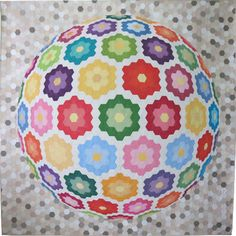 """Together in a Friendship World"" hexie three dimensional spherical quilt by Geta Grama (Brasov, Romania)"