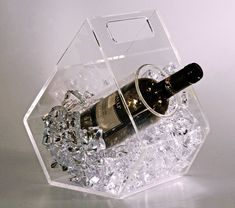 CLEAR ICE - ice bucket for wine bottles made of transparent plexiglass - cooled bottle of wine without getting wet