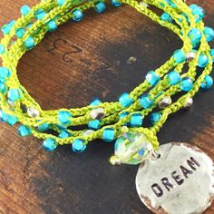 Turquoise DREAM Crochet 5x Wrap Bracelet or Necklace Boho Chic Beach Surfer Boho Style Inspirational Word Jewelry, Personalized Word Jewelry by kyleemaedesigns on Etsy