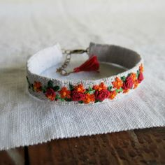 Floral Embroidered Cuff Bracelet Red and Orange Flowers on