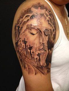 Jesus face tattoo - 20 Holy Jesus tattoos   <3 <3