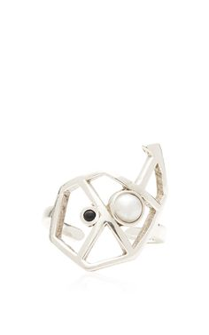 Silver Blue Sapphire And Pearl Mitra Ring by LeiVanKash for Preorder on Moda Operandi