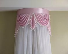 Pink crown canopy with pom-pom fringe Diy Bay Window Curtains, Swag Curtains, Voile Curtains, Bed Crown Canopy, Canopy Frame, Home Design, Diy Design, Pink Crown, Types Of Curtains
