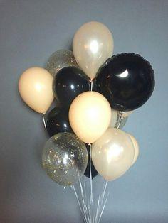 Черный + персик + ню золото  Букет включает в себя 18 шаров: 12 твердые шары (11 дюймов) 3 шары золотого конфетти (11 дюймов) воздушные шары металлические майлара 3 (18 дюймов)