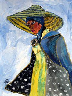 Frau mit Hut - Original - Kunst von abstrakte bilder und mehr von maria-mercedes auf DaWanda.com