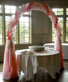 Birthday Decor pretty in Pink cake table arch