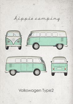 Hippie Camping. Volkswagen Type2. Wall Art. Car Graphic. by jbFARM