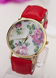 Red floral watch