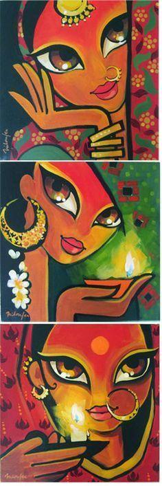 Niloufer Wadia - acrylics on canvas Rajasthani Painting, Rajasthani Art, Madhubani Art, Madhubani Painting, Fabric Painting, Painting & Drawing, Art Visage, Indian Folk Art, Indian Art Paintings