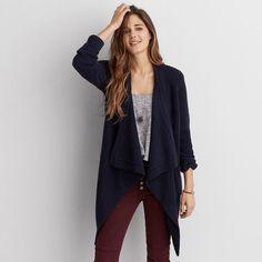 AEO Draped Cardigan ($60) ❤ liked on Polyvore featuring tops, cardigans, navy blue, navy blue cardigan, pattern tops, navy top, drapey cardigan and blue cardigan