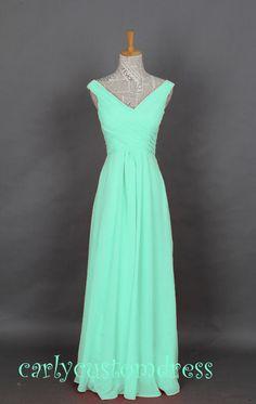 Mint Long Chiffon Bridesmaid Dress Cheap Coral by CarlyCustomDress, $79.99