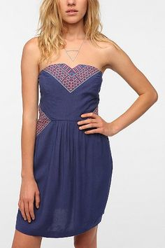 Ecote Embroidered Inset Strapless Dress