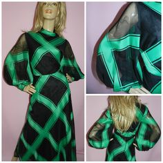 Vintage 70s Bold Green/Black CHEQUERED GEOMETRIC BALLOON slvd maxi dress 14 M 1970s Avant Garde High collar Evening by HoneychildLoves on Etsy