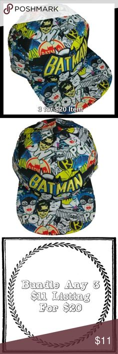 Batman All Over Print Flat Visor Baseball Cap Price is firm unless bundled. Official licensed merchandise. This Flat Visor Baseball Cap features all over printed comic character artwork along with an embroidered logo and an adjustable snap back closure. One size. Unisex. DC Comics Accessories Hats