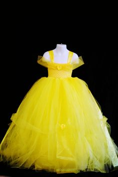 Newborn-4T Disney Belle Inspired Tutu- Beauty and The Beast Inspired Yellow Tutu-For Photoshoots, Gifts, Costumes, Birthdays and Dress up on Etsy, $50.00