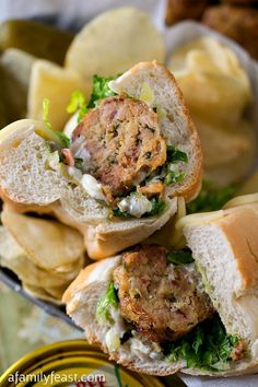 Tuna Meatball Sub - It's part tuna melt, part meatball <em>sub!  Super delicious 'meat' balls made with canned tuna! #PinThatTwist