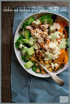 Chicken and Chickpea Green Goddess Power Salad {gluten free}