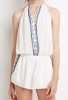 White Halter Embroidered Backless Jumpsuit 19.00