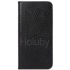 Automatische Saug-Krokodil-Muster-Halter-Standplatz-TPU   PU-Leder Tasche für iPhone 6 Plus 6S Plus schwarz