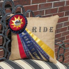 Burlap Ribbon Pillow by Itsallabouthorses on Etsy, Horse Ribbon Display, Show Ribbon Display, Horse Show Ribbons, Ribbon Projects, Ribbon Crafts, Craft Projects, Sewing Projects, Ribbon Quilt, Burlap Ribbon