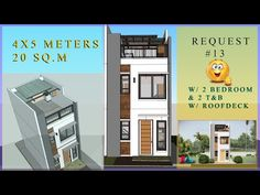4X5 METERS (SMALL HOUSE DESIGN IDEAS 20sq.m/2 BEDROOMS W/ ROOF DECK) - YouTube House Plans 2 Storey, Narrow House Plans, 2 Storey House Design, Small Loft Apartments, Small Apartment Design, Japanese Modern House, Modern Tiny House, Simple House Design, Tiny House Design