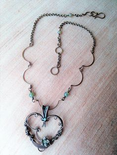 Wire wrapped copper heart pendant