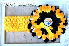Items similar to Pittsburgh Steelers Football Bow Headband Baby Girls luxury boutique bow by Violet's Velvet Box on Etsy Steelers Gear, Steelers Stuff, Pittsburgh Steelers, Steeler Football, Steeler Nation, Baseball, Flower Hair Bows, Baby Bug, Sport Craft