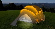 Family camping tent has been famous for years and endures to be these days. Family tent is primary piece of equipment required for camping. Choosing an ideal tent is vital for an enjoyable camping trip. Solar Powered Tent, Meme Internet, Tent Design, Cool Tents, Amazing Tents, Camping Glamping, Solar Camping, Camping Lights, Camping Ideas
