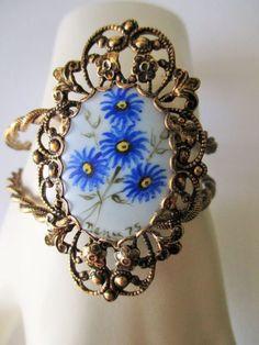Vintage1975 Clamper Style Bracelet Hand Painted Blue Flowers Antiqued Filigree  #UnbrandedVintageClamperBraceletPaintedFlowers #ClamperVintagePaintedFlowers