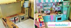 ad diy cardboard kitchen recycle for your toddler 01 Toddler Kitchen, Kitchen Sets For Kids, Play Kitchen Sets, Mini Kitchen, Toy Kitchen, Cardboard Kitchen, Cardboard Crafts, Cardboard Playhouse, Cardboard Furniture