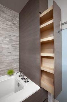 ideas bathroom storage ideas diy space saving bath for 2019 Small Space Storage, Small Bathroom Storage, Modern Bathroom Design, Hidden Storage, Bath Design, Design Room, Extra Storage, Space Saving Bathroom, Bathroom Furniture
