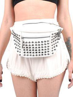 Cream Studded Fanny Pack