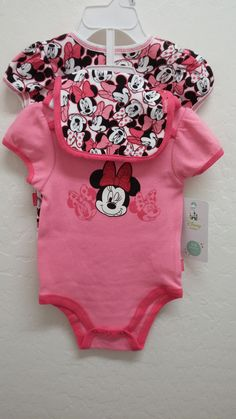 b2b863869 NWT Baby Girl Disney Minnie Mouse 3Piece Outfit Set OnePiece Bodysuit 0-9  months