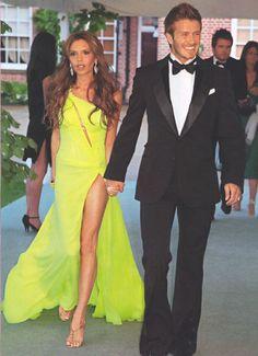 David Beckham + Victoria Beckham (in Roberto Cavalli Fall 2004 Dress and Jimmy Choo Sandals) ~