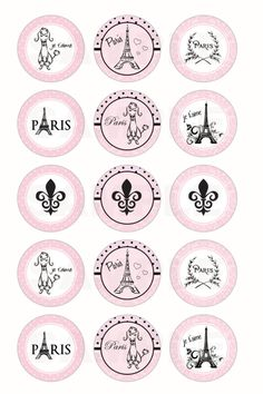 INSTANT DOWNLOAD Paris Parisian Bottle Cap Images by DigiPrintz