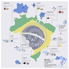 Projeto de Dot And Flag Map Of Brasil Infographic